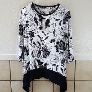 Chico's black and white floral tunic top NWT